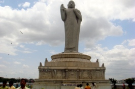 Carved out of a single stone, he is even more imposing than what he appers from a distance